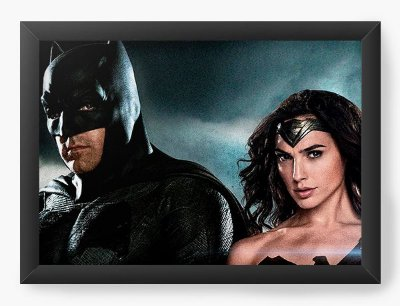 Quadro Decorativo Batman e Mulher Maravilha