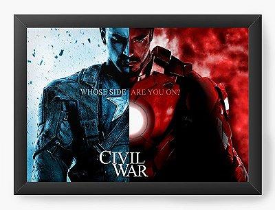 Quadro Decorativo Capitão America e Homem de Ferro - Civil War
