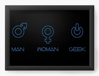 Quadro Decorativo  Man - Woman - Geek