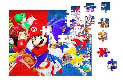 Quebra-Cabeça Super Mario Word e Sonic 90 pçs