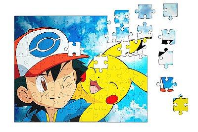 Quebra-Cabeça Pokemon - Pikachu e Ash 90 pçs