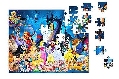 Quebra-Cabeça Ariel, Aladin. Mickey - Diversos 90 pçs
