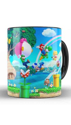 Caneca Super Mario Word E Luigi