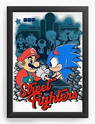Quadro Decorativo Mario vs Sonic Street Fighters