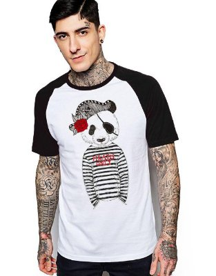 Camiseta Raglan King33 Urso Pirata