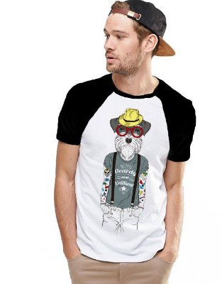Camiseta Raglan King33 Dog Moderno