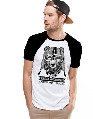 Camiseta Raglan King33 Urso Viajante