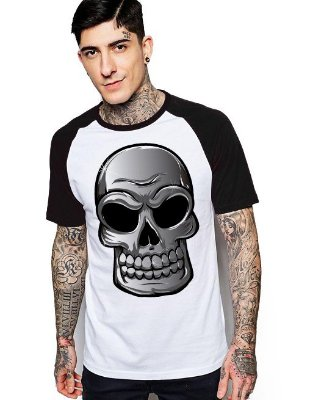 Camiseta Raglan King33 Skull Face Evil