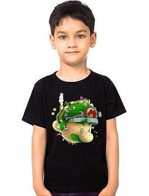 Camiseta Infantil Super Mario Word