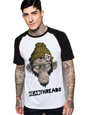 Camiseta Raglan King33 Monkey Head