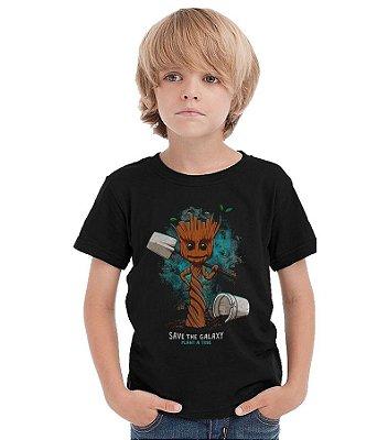 Camiseta Infantil Groot - Guardiões das Glaxia