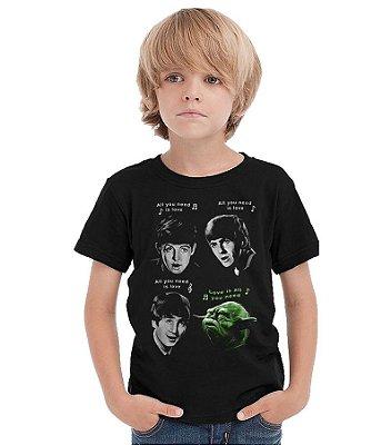 Camiseta Infantil  The Beatles e Yoda - Star Wars