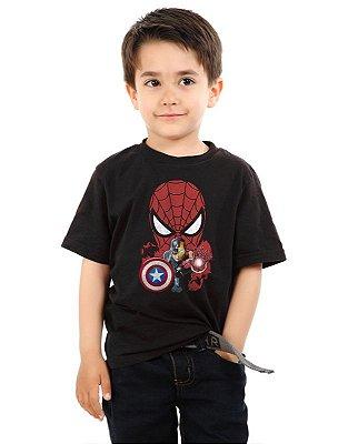 Camiseta Infantil Homem Aranha e Capitão America