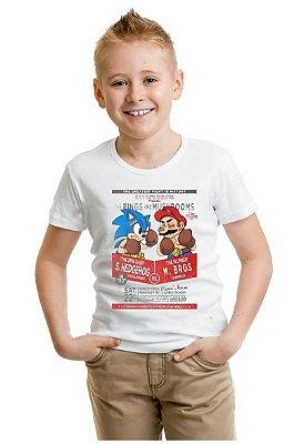 Camiseta Infantil Sonic Hedghog vs Mario Bros