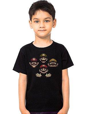 Camiseta Infantil Mario e Luigi