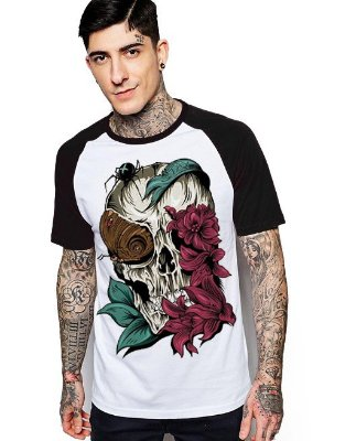 Camiseta Raglan King33 Skull Rose