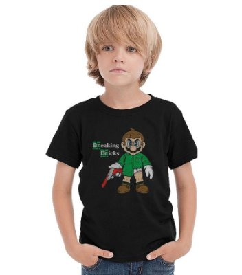 Camiseta Infantil Breaking Bricks - Mario