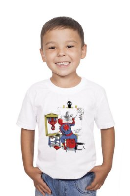 Camiseta Infantil Spiderman Self