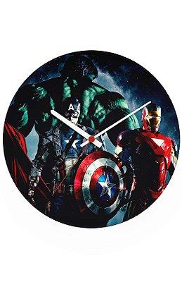 Relógio de Parede Homem de Ferro, Hulk, Capitão America