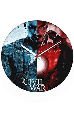 Relógio de Parede Homem de Ferro e Capitão America