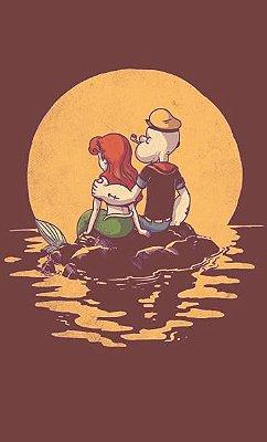 Camiseta Estonada Popeye e Ariel