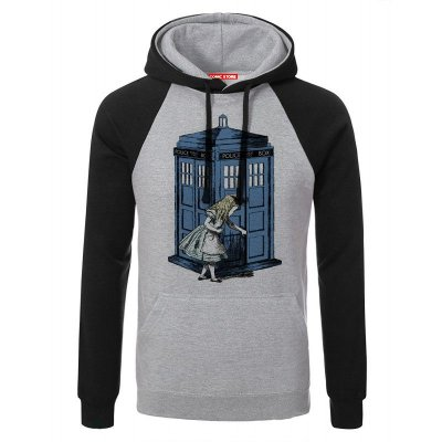 Blusa com Capuz Police Box and Alice