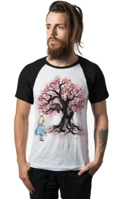 Camiseta Raglan Alice in Wonderland Cheshire