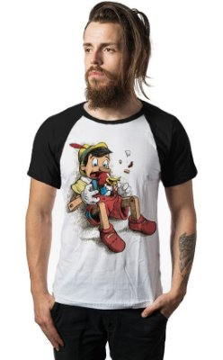 Camiseta Raglan Pinocchio and Woody Woodpecker