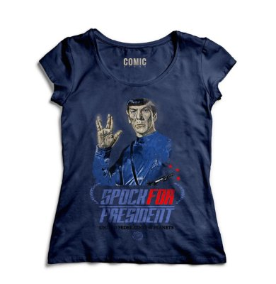 Camiseta Feminina Spok for President Star Trek
