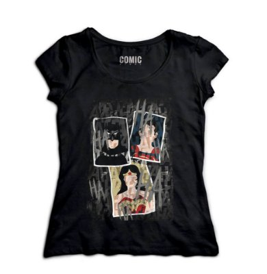Camiseta Feminina Mulher Maravilha, Batman e Superman