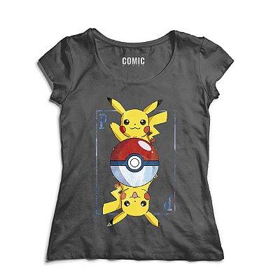Camiseta Feminina Carta Pikachu