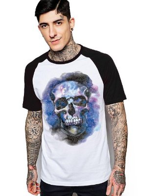 Camiseta Raglan King33 Skull Face Color