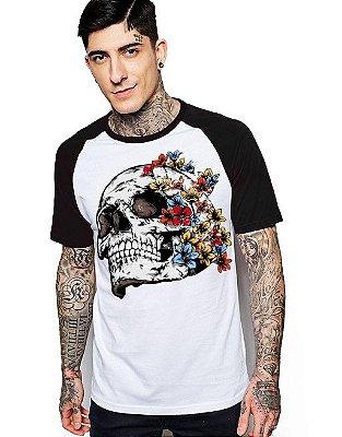 Camiseta Raglan King33 Skull Face Roses 1