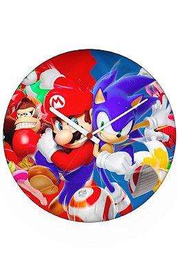 Relógio de Parede Super Mario VS Sonic