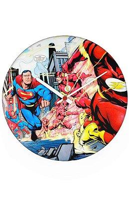 Relógio de Parede Flash e Superman