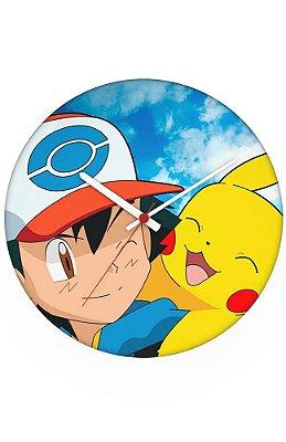 Relógio de Parede Pikachu e Ash