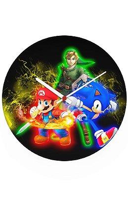 Relógio de Parede Super Mario , Sonic e Link