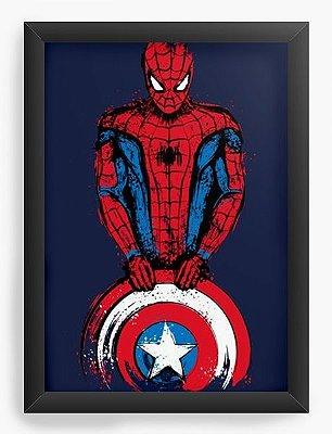 Quadro Decorativo Homem Aranha - Escudo Capitão America