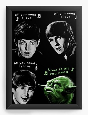 Quadro Decorativo The Beatles e Yoda