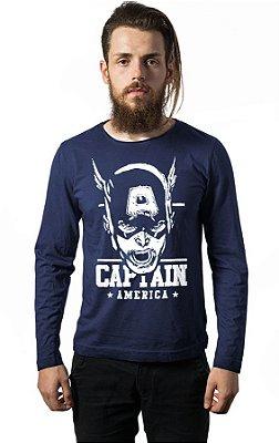 Camiseta Manga Longa Capitão America