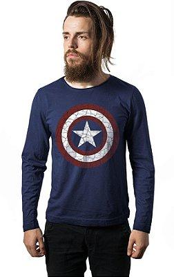Camiseta Manga Longa Escudo Capitão America