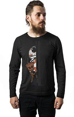 Camiseta Manga Longa BB-8 E Groot