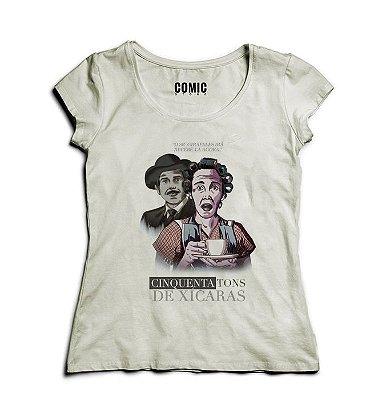 Camiseta Feminina Chaves Cinquenta Tons de Xicaras