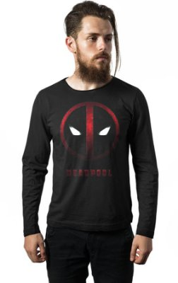 Camiseta Manga Longa Deadpool Face