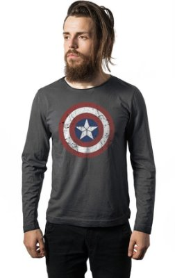 Camiseta Manga Longa Capitão America Escudo