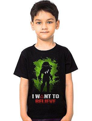 Camiseta Infantil Alien vs Predador Believe