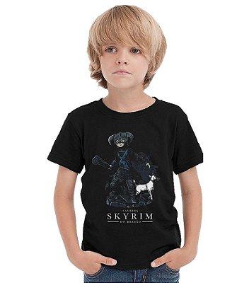 Camiseta Infantil Caverna do Dragão - Skyrim