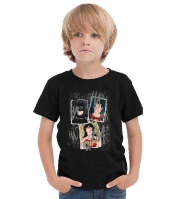 Camiseta Infantil Batman e Superman
