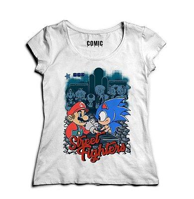 Camiseta Feminina Sonic vs Mario Bros Street Fighter