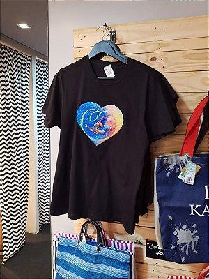 Camisa Coração paetê Spaccata